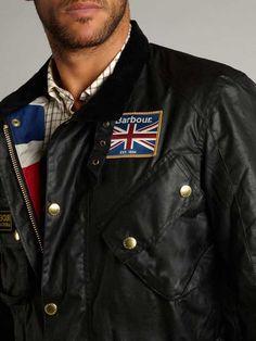 Barbour Black Sapper Jacket International Collection. Medium weight 6oz Barbour Thornproof wax