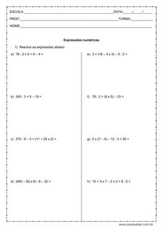 exercícios de matemática: Expressões numéricas - 5º ou 6º ano