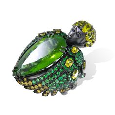 Lydia Courteille ~ Queen of Sheba Green Tourmaline Ring, set with green tourmaline, tsavorites and sapphires