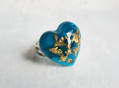 Sapphire Blue Chunky Diamond Heart Cocktail Resin Ring - Handmade Resin Statement Jewelry