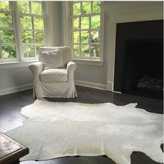 Great white cowhide rug from Kerry from Ohio. Thanks so much for sharing a photo of your lovely loving room! White cowhides are rare but boy are they gorgeous!