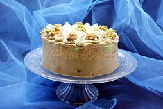 Tort cu blat de nuca si crema caramel Creme Caramel, Romanian Food, Vanilla Cake, Cheesecake, Mousse, Desserts, Mascarpone, Birthday, Tailgate Desserts