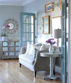 "How about painting your french doors with a beautiful bold color? I love this ""how to paint"" french door tutorial by Centsational Girl. (If we ever put up french doors on dining room)"
