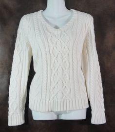 St Johns Bay Petite Ivory Sweater V-Neck Cable Knit Acrylic Warm PL worn once #StJohnsBay #VNeck