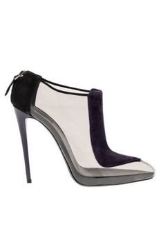 EMPORIO ARMANI Velvet and Clear Bootie | Best Heels for Fall/Winter - Fall 2013 Shoes - ELLE |= (ACCESSORIES SHOW)