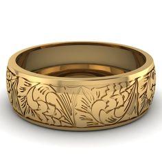 14k Yellow Gold Wedding | Intricate Pattern Band | Fascinating Diamonds