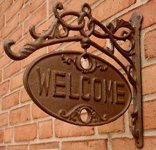 Rustic Ornate Cast Iron Front Door Gate Welcome/go Away Sign Funny Home Decor for sale online Iron Front Door, Iron Doors, Front Entry, Medieval Door, Cast Iron, It Cast, Gate Handles, Funny Home Decor, Door Plaques