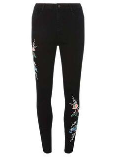 Black Floral Embroidered Skinny Jeans