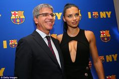 Barca players are unhappy with vice-president Jordi Mestre (left, pictured with Adriana Lima)