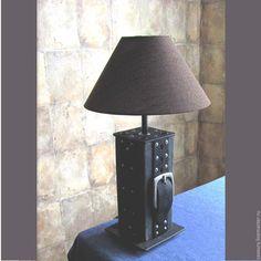 Купить лампа настольная из кожи - лампа настольная, лампа ручной работы, кожа натуральная, АБАЖУР