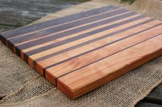 Handmade wood cutting Board - cherry & walnut striped serving board cheese plate custom size kitchen gift wedding gift for cook woodworking Woodworking Books, Custom Woodworking, Fine Woodworking, Woodworking Projects, Nick Offerman Woodworking, Woodworking Workbench, Woodworking Classes, Popular Woodworking, End Grain Cutting Board