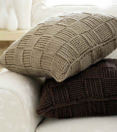 """Basketweave pillow covers-frr pattern.  Five skeins of one color will cover two 18"""" X 18"""" pillow forms."""
