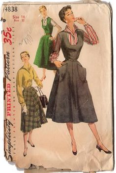 Vintage Original Simplicity Ladies Jumper Dress, Blouse and Skirt Sewing pattern. The jumper has a low, rounded neckline in front and features a flared skirt. There are two patch pockets on front of j Skirt Patterns Sewing, Vintage Dress Patterns, Simplicity Sewing Patterns, Blouse Vintage, Vintage Skirt, Clothing Patterns, Skirt Sewing, Costume Patterns, Vintage Outfits