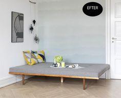 Maren og Lasses forsømte gæsteværelse er blevet opgraderet med fine maleeffekter, en elegant briks og nem gør det selv-kunst.