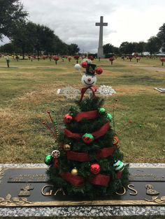 Christmas tree for loved ones at the cemetery! Tree made using a tomato cage & garland!
