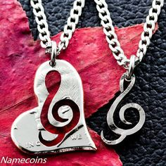Treble Clef Heart Necklace, Couples music jewelry, hand cut half dollar