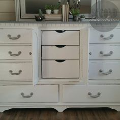 Looking for a small project to add a little flair in your bedroom? Check out what Rebecca from @2ndchancecharms did with a little paint, a dresser, and inspiration. After all, the outside of your drawers matter just as much as what's inside them! Want to create the same look? Rebecca used Pure White SW 7005 and a light gray paint for the top, then distressed the dresser herself.