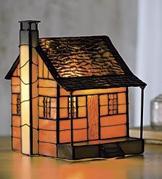 tiffany-style-cabin-night-light.  Idea - decorate it for Christmas with little wreath, etc.