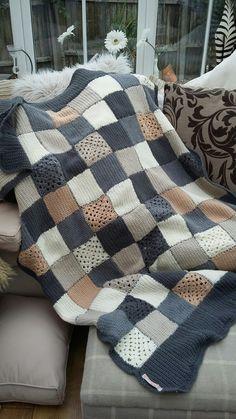 Crochet Quilt, Crochet Home, Crochet Crafts, Crochet Yarn, Crochet Stitches, Sewing Crafts, Beginner Knitting Patterns, Knitting Projects, Crochet Projects