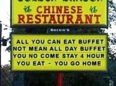 Funny pictures about Chinese Buffet. Oh, and cool pics about Chinese Buffet. Also, Chinese Buffet photos. Restaurant Signs, Chinese Restaurant, Lol, Haha Funny, Funny Stuff, Funny Shit, Random Stuff, Random Things, Freaking Hilarious