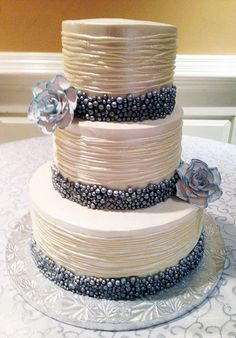 Wedding Cake with Pearls and Layered   Flickr - Photo Sharing! www.realbuttercream.com