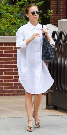 Natalie Portman's Oversize Shirtdress Will Make You Long for a New White Button-Up from InStyle.com