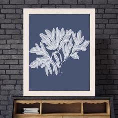 Seaweed print, decorative art, seaweed artwork, nautical art botanical decor coastal living blue room ideas - Seaweed 4 white on indigo blue