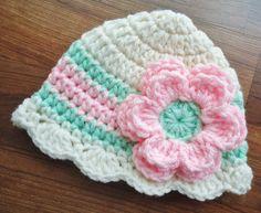 Crocheted Baby Girl Hat with Flower Baby Girl by KaraAndMollysKids, $15.50