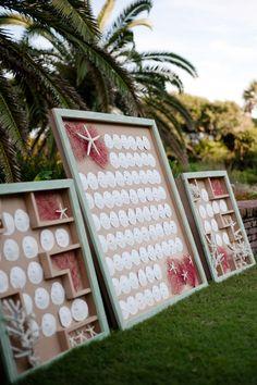 sand dollar escort cards | Nate Henderson #wedding
