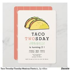 Taco Twosday Tuesday Mexican Fiesta 2nd Birthday Invitation 2nd Birthday Invitations, Sweet 16 Invitations, Custom Invitations, Girl 2nd Birthday, Colored Envelopes, Envelope Liners, Paper Texture, Tuesday, Fiestas