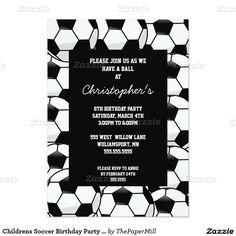Childrens Soccer Birthday Party Invitations
