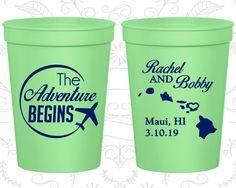 The Adventure Begins, Wedding Drink Cups, Hawaii Wedding Cups, Travel Wedding Cups, Plane, souvenir stadium cup (278)