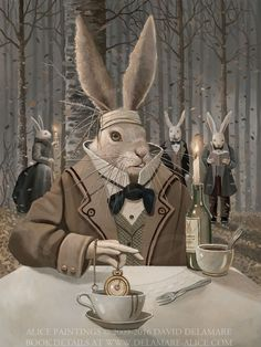 David Delamare's Alice Alice Rabbit, Bunny Art, Bunny Bunny, Bunnies, Go Ask Alice, Alice In Wonderland Book, Adventures In Wonderland, David, Lewis Carroll