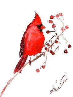 Northern Cardinal Original watercolor painting 9 X by ORIGINALONLY