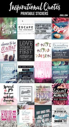 Free Inspirational Quotes Printable Planner Stickers #plannerquotes #plannerstickers