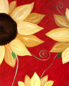 """My """"Sunflower on Red"""" painted @Linda Bruinenberg Bruinenberg Strickland with a Twist Miami"""