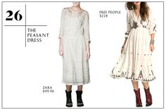 "The Peasant Dress — These ain't your ""Ray of Light""-era peasant dresses from a decade ago. In a midi-length and more delicate, sophisticated embroidery, the modern peasant dress is more Marfa, Texas than Madonna '98."