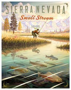 Trout Fisherman on tumblr Trout Fishing, Fly Fishing, Nevada California, Art Deco Posters, And So The Adventure Begins, Sierra Nevada, Fish Art, Vintage Travel Posters, Illustrations And Posters