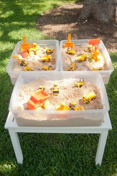 sand play area for outside by the campfire - evening fun for kids