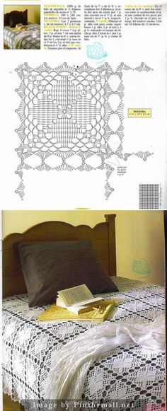 Crochet bedspread square, joined at the picots. Simple but very pretty & effective. Love this one ~~