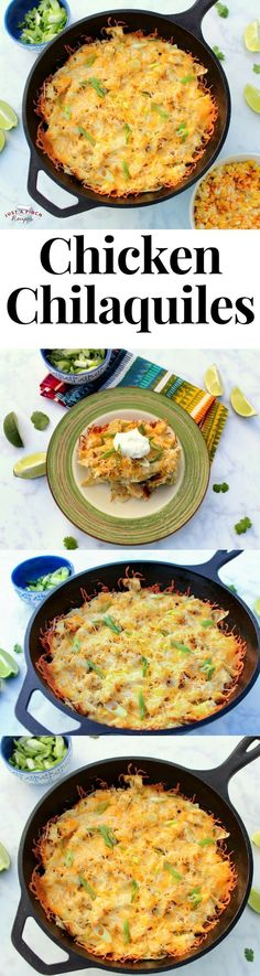 Chicken Chilaquiles We loved this take on this traditional Mexican dish. Using tortilla chips helps to make this a quick and delicious dinner. Pastas Recipes, Chicken Recipes, Dinner Recipes, Cooking Recipes, Aloo Recipes, Cheesy Recipes, Quick Recipes, Egg Recipes, Delicious Recipes
