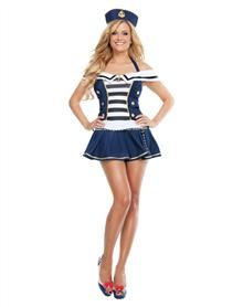 Anchors away - you're free to be sexy in this Maiden Voyage Sailor adult womens costume; so set sail for a nautical adventure!'