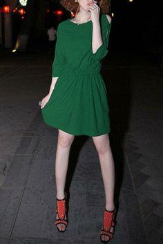 exposed shoulder green dress