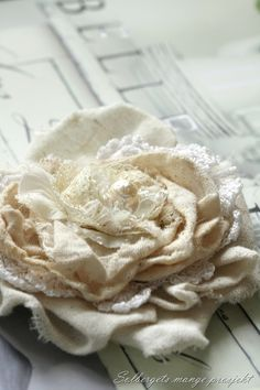 shabby chic fabric and lace flower