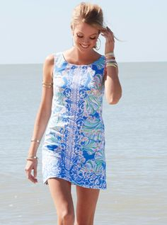 Lilly Pulitzer Cathy Shift Dress in Bay Blue Coasting Engineered Shells - Summer Must Have