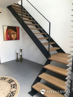 Steel Life does rank as steel doors with glass swing doors, insulated steel exterior window frames, steel exterior doors, and steel stairs and railings! Home Stairs Design, Railing Design, Interior Stairs, Stair Railing, Home Design Plans, House Design, Glass Railing, Steel Stairs, Loft Stairs