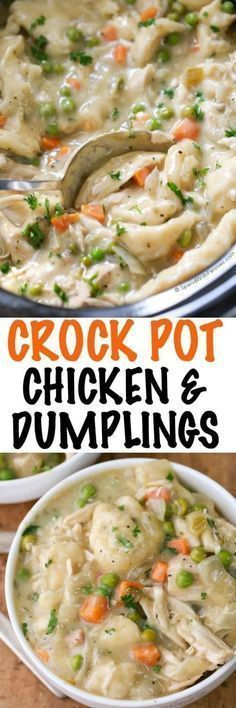 Easy Crock Pot Chicken and Dumplings. Juicy chicken breasts cook to tender perfection in the slow cooker in a rich creamy sauce. Shortcut dumplings are added in for a delicious comforting meal with very little effort. This is one family recipe everyone wi Slow Cooker Huhn, Crock Pot Slow Cooker, Crock Pot Cooking, Slow Cooker Recipes, Cooking Recipes, Healthy Recipes, Easy Recipes, Cooking Tips, Crock Pot Dinners