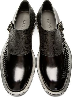 Lanvin: Back Monk Strap Woven Accent Shoes