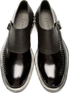 Dapper Male Fashion| Serafini Amelia| Lanvin: Back Monk Strap Woven Accent Shoes