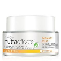 Introducing the nutraeffects product line. The Radiance Collection is formulated to help boost energy production and cell renewal, helping bring new skin to the surface.nutraeffects Radiance Day Cream Broad Spectrum SPF 20 is a radiance revealing moisturizer that restores healthy-looking skin. 1.7 fl. oz. Hydrate, hydrate, hydrate. Avon nutraeffects Radiance Day Cream Broad Spectrum SPF 20 | AVON Shop my estore! http://youravon.com/cbrenda007